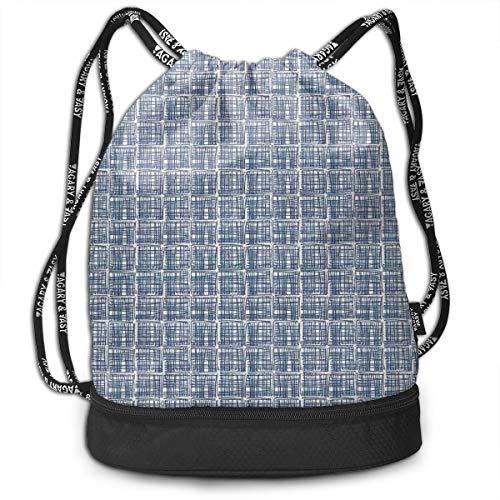 DPASIi Mochilas con cordón para el día, cuadrados con rayas en estilo hippie dibujado a mano, diseño geométrico de cuadrícula de azulejo, cierre de cuerda ajustable