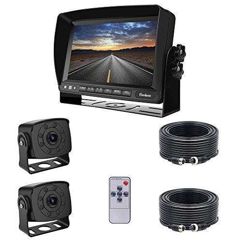 """Coolwoo 7\"""" TFT LCD Kfz-Monitor + 2X 8 IR Rückfahrkameras mit Nachtsicht, 175 ° Winkel, IP68 + 2X 20m Anschlusskabel Für LKW/Wohnmobil /Bus/Anhänger (12-32 Volt)"""