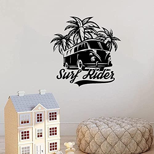 Pegatinas de pared, calcomanías creativas, papel tapiz de olas, surf de coco, jinete, océano, ático, agua, tabla de surf, dormitorio, diez yardas, 93x93cm