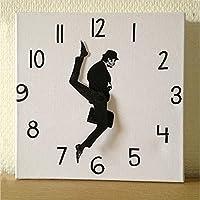 バカ歩き省の時計、コメディアンの家の装飾ノベルティウォールウォッチ面白いウォーキングサイレントミュート時計、ノベルティウォールウォッチの家の装飾,White2-11.8in