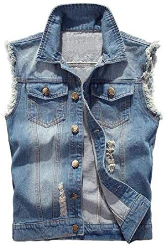Men Button Up Jean Cutoff Sleeveless Ripped Denim Vest Jacket Coat Gilet