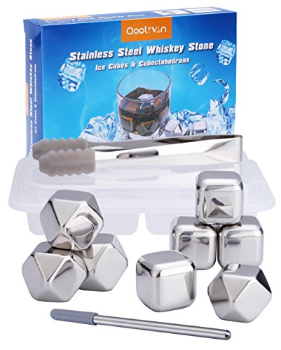 Qoolivin 8 Piece Reusable Metal Stainless Steel Chilling Stones for Scotch Whiskey Wine and Drink with Nonslip Rubber End Ice Tongs and Ice Cube Tray (Ice Cubes For Drinks That Don T Melt)