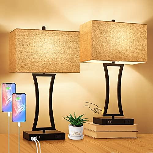 Juego de 2 lámparas de mesa de control táctil, 3 vías, regulable, moderna mesita de noche con 2 puertos USB, lámparas de mesa de noche con pantalla de tela para sala de estar, dormitorio, hotel