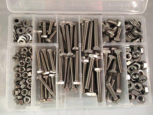 Kit con dadi esagonali M8 e M10 assortiti e rondelle DIN 933, in acciaio inox A2