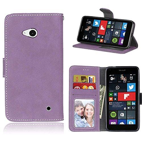 Microsoft Lumia 640 Hülle, SATURCASE Retro Mattiert PU Leder Flip Magnetverschluss Brieftasche Standfunktion Schützend Tasche Schutzhülle Handycover für Nokia/Microsoft Lumia 640 LTE (Lila)