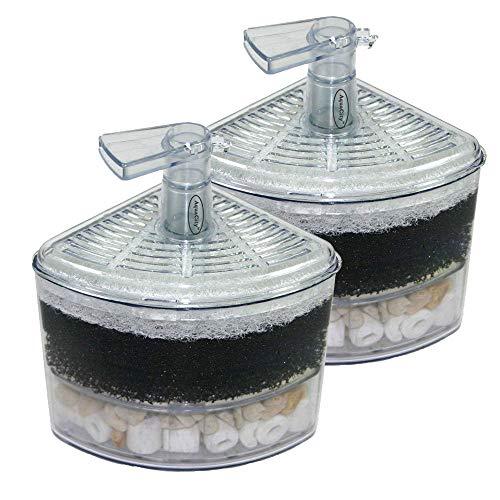 Aquapapa Corner Filter Air Driven Bio Sponge Ceramic for Fry Shrimp Nano Fish Tank Aquarium XY-2008 (Ship from CA USA) (2-Pack)