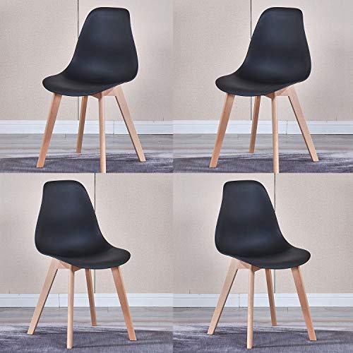 WV LeisureMaster - Sedie da pranzo in stile nordico, con gambe in legno massiccio, sedie da cucina, stile retrò, set da 4 pezzi, colore: Nero