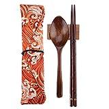 箸袋箱 食器セット、 木製のカトラリーセット ポータブル キャリングケース付き ダイニング キャンプ(5)