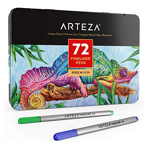 Arteza Fineliner Stifte, feine Filzstifte 0.4mm Spitze, 72 Feinstifte in robuster Metallbox