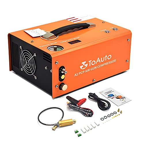 TOAUTO A2 PCP Air Compressor, Auto-Stop, Portable 4500Psi/30Mpa, Oil/Water-Free, 8MM Quick-Connector HPA Compressor for Paintball/PCP Air Rifle/Scuba Tank, Powered by Home 110V AC or 12V Car DC