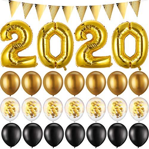 Globos de Confeti Oro Suministro de Fiesta de Año Nuevo 2020 de Graduación Globos de 2020 con Estandarte de Banderas Triangulares y 21 Piezas de Globos Látex y Cinta Rizadora de 40 Metros/ 131 Pies