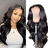 Lace Front Wigs Human Hair, Body Wave 4x4 Lace Closure Wigs for Black Women Human Hair, 150% Density Brazilian Virgin Human Hair Wigs Pre Plucked Natural Color (22 Inch)