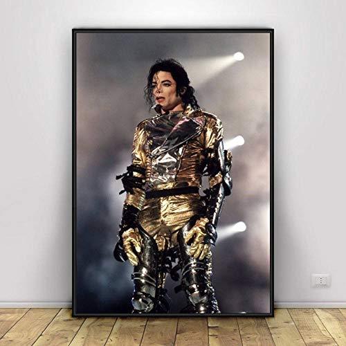 JYWDZSH Leinwanddruck Michael Jackson The King Musiker Poster und Drucke Leinwand Malerei Wandkunst Bild für Wohnzimmer Home Decor, 50x70cm No Frame