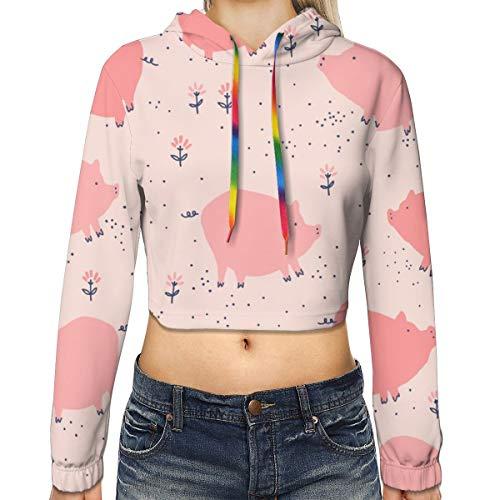 Women Long Sleeves Crop Top Hoodies for Running Fishing Yoga, Pink Cute Lazy Pig Short Sweatshirt, Slim 3D Pattern Print Top Blouse
