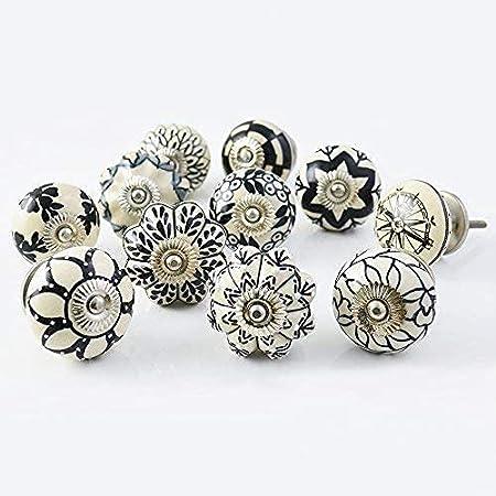 Ajuny Juego de 20 pomos de cerámica, color negro y blanco, para cocina, extractores de cajones, pintados a mano