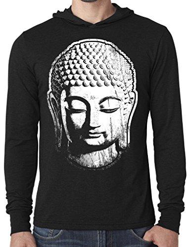 Mens Big Buddha Head Hoodie Tee Shirt, 2XL Black