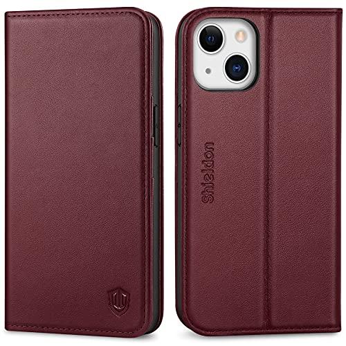 SHIELDON Funda Compatible con iPhone 13, Funda de iPhone 13, Funda de Cuero Genuino con Bloqueo RFID, Soporte Plegable, Ranura para Tarjeta, Carcasa Protectora para iPhone 13 5G(6.1', 2021), Vino Rojo