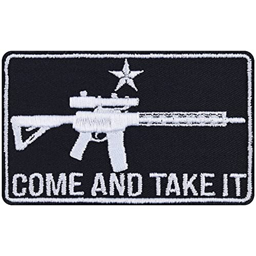 Come and TAKE IT Aufnäher Waffen Aufbügler Biker Patch Sniper Bügelbilder Heavy Metal Sticker Geschenk Hobby-Schütze DIY Applikation für Jacke/Weste/Jeans/Motorradkoffer 90x55mm