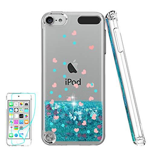 Cover iPod Touch 6th Gen Custodia Brillantini Trasparente, Glitter Morbido Cover per Italia Apple Touch 5th /6th Generation Telefonino Donna Blue