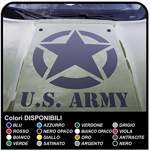 GRAFIC Autocollant pour Capot de Voiture Étoile à apparaître sur Le Capot Sticker Decal US Army Star (Blanc)