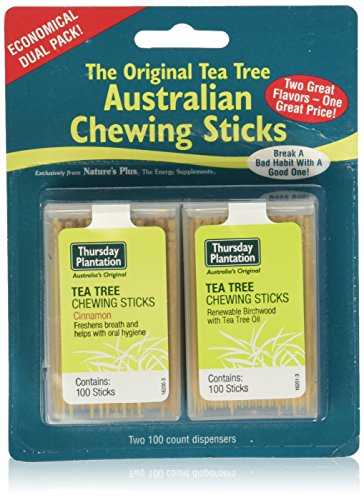 Nature's Plus Tea Tree Cinnamon & Original Chewing Sticks Dual Pack (200 Counts)
