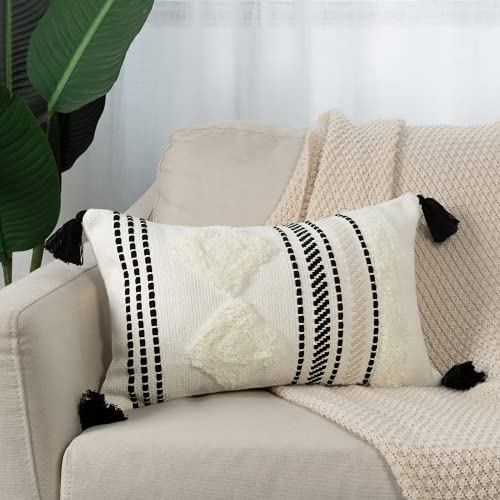 Fundas de cojín bohemias decorativas con borlas, inserto para sofá, cojín moderno bohemio muy suave, cojín decorativo para dormitorio o salón, 30 x 50 cm (negro y blanco)