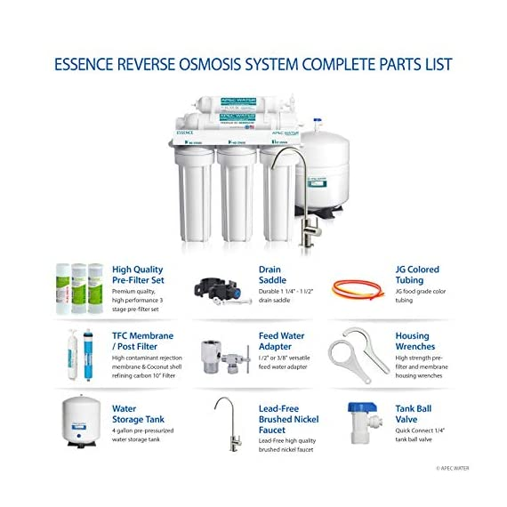 APEC Water Systems ROES-50 Essence Series Top Tier 5-Stage Certified Ultra Safe Reverse Osmosis Drinking Water Filter… 6 Supreme quality - designed, engineered, and assembled in USA to guarantee water safety & your health. Only technology to remove up to 99% of contaminants such as chlorine, taste, odor, VOCs, as well as toxic fluoride, arsenic, lead, nitrates, heavy metals and 1000+ contaminants. Max Total Dissolved Solids - 2000 ppm. Feed Water Pressure 40-85 psi WQA Certified System. Premium long-lasting filters used to treat tap water, well water. Provide unlimited clean, refreshing crisp tasting water superior to bottled water