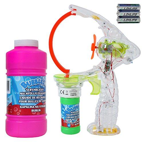 TE-Trend XXL Seifenblasenpistole für Mega Seifenblasen mit LED, Ventilator und 450 ml Seifenblasen Ersatz Flüssigkeit zum Nachfüllen