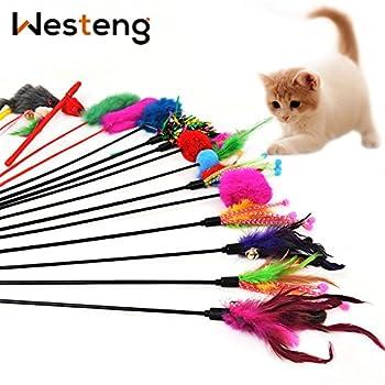 Matériau: plastique + fibres synthétiques. Les bâtons de jeux rendront votre chat plus heureux et le feront se sentir mieux, émotionnellement, physiquement et mentalement, en sollicitant son instinct de chasse. Ce fantastique jouet vous permet d'int...