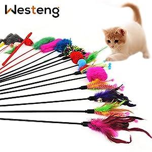 Westeng 4pcs Classic Fibras Sintéticas o Artificiales Funny Pet Cat Play Sticks Varilla gato juguete con Bell (color al azar) 5