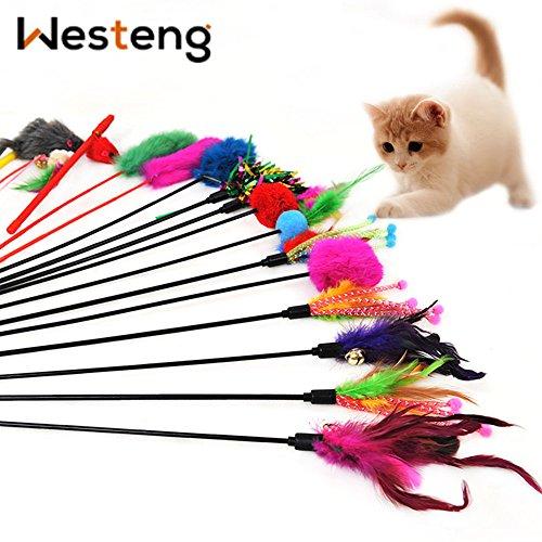 Westeng 4 Bacchette da Gioco per Gatti, Gioco Interattivo Divertente, per Gattini, Bacchetta con Punta con Piume e Campanella, Colori Casuali (A)