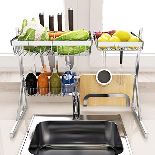 WYQ Égouttoir Vaisselle Pliable, Durable INOX Cage à Couverts, Porte-Baguettes, Rack d'épicerie, Planche à découper (Taille : 64cm × 31.8cm × 50.3cm)