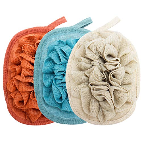 Amariver 3 Pack Bath Loofah Body Sponge Brushes Pouf Bath Mesh Brush Bath Shower Glove with flower Bath Ball