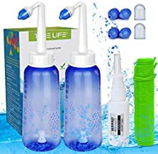 2PCS-Pack Sinus Rinse Bottle with 4 Sprayer + 1 Moisturizing Nasal Pump Sprays - 300ml 10oz Nasal Irrigation - Nasal Rinse Kit - Nose Cleaner - Yoga Neti Pot - for Adult and Child Nose Wash Clean