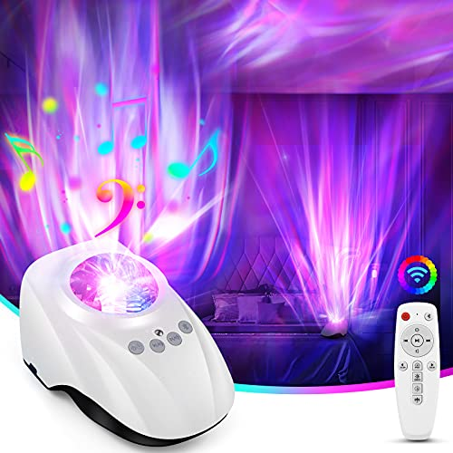 Aurora/Northern Night Light Projector with White Noise Machine for Sleeping - LED Aurora Bedroom Ceiling Projector Light for Baby Kids Adults,Built-in Bluetooth Speaker,8 Soothing Sound,Remote,Timer