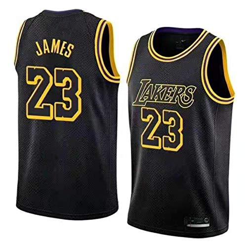 FRESHC Hombres Jerseys James 23 Chaleco Bordado, Lakers Lebron Swingman Retro Polyester Mesh Tops, S-XXL, Negro/Amarillo/Púrpura Black-L