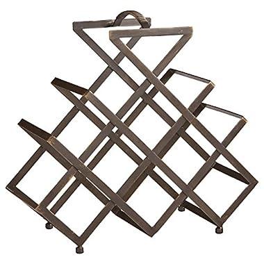 Rivet Modern Geometric Iron Wine Rack, 17.5 H, Black