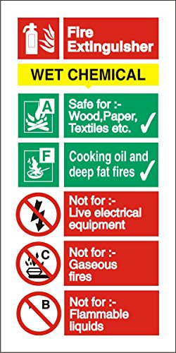 Seco Wet Chemical Fire Extinguisher Sign, 100mm x 200mm - 1mm Semi Rigid Plastic
