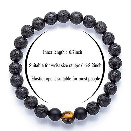 KEJI Fashion White Turquoises Beads Bracelet Men Natural Lava Stone Elastic Bracelets For Women Opal Healing Jewelry Pulsera Hombre