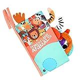 Vicloon Libri di Stoffa per Neonati, Libro Morbido con Coda di Animali, 5 Pagine Libro Bambino in Tessuto con Gancio per Passeggino, Neonati Libro Interattivo, Educativi Regali, Non Tossico