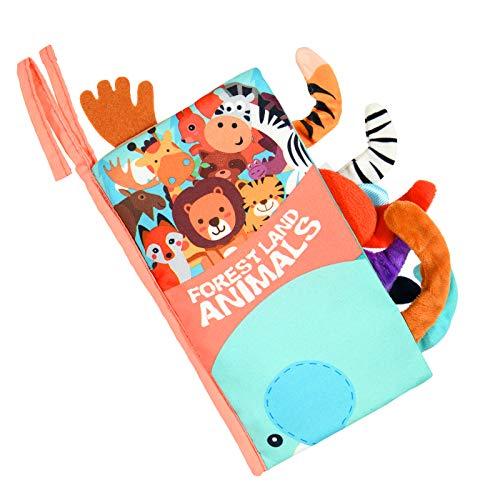 Vicloon Libro de Tela, 1 Pieza Libros Blandos Libro Activity Bebé con Cola, Animales Libros de Tela Bebé Aprendizaje y Educativo Libro para Bebé Recién Nacido Niños Preescolar (0-6 Meses)