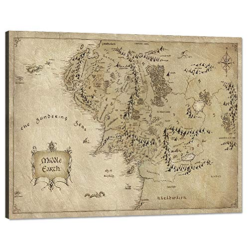 1 Piece Wall Art Picture Lord of the Rings Map Canvas Painting Map of Middle Earth Poster HD Print Home Decor Artwork for Living Room Bedroom Office Stretched and Framed Ready to Hang (18'Hx24'W)