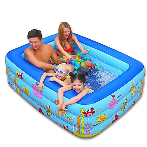 Piscina inflable, piscina inflable familiar de tamaño completo 2021, piscina de servicio pesado sobre el suelo para niños, adultos, al aire libre, patio trasero, fiesta en la piscina,210*145*65 cm