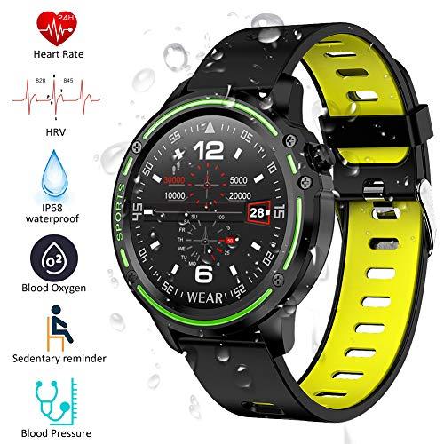 Smartwatch Padgene Reloj Inteligente IP68 Impermeable Bluetooth con Múltiples Deportes, Pulsómetro, Monitor de Sueño, Notificación de Llamada y Mensaje para Android e iOS (Negro Amarillo)