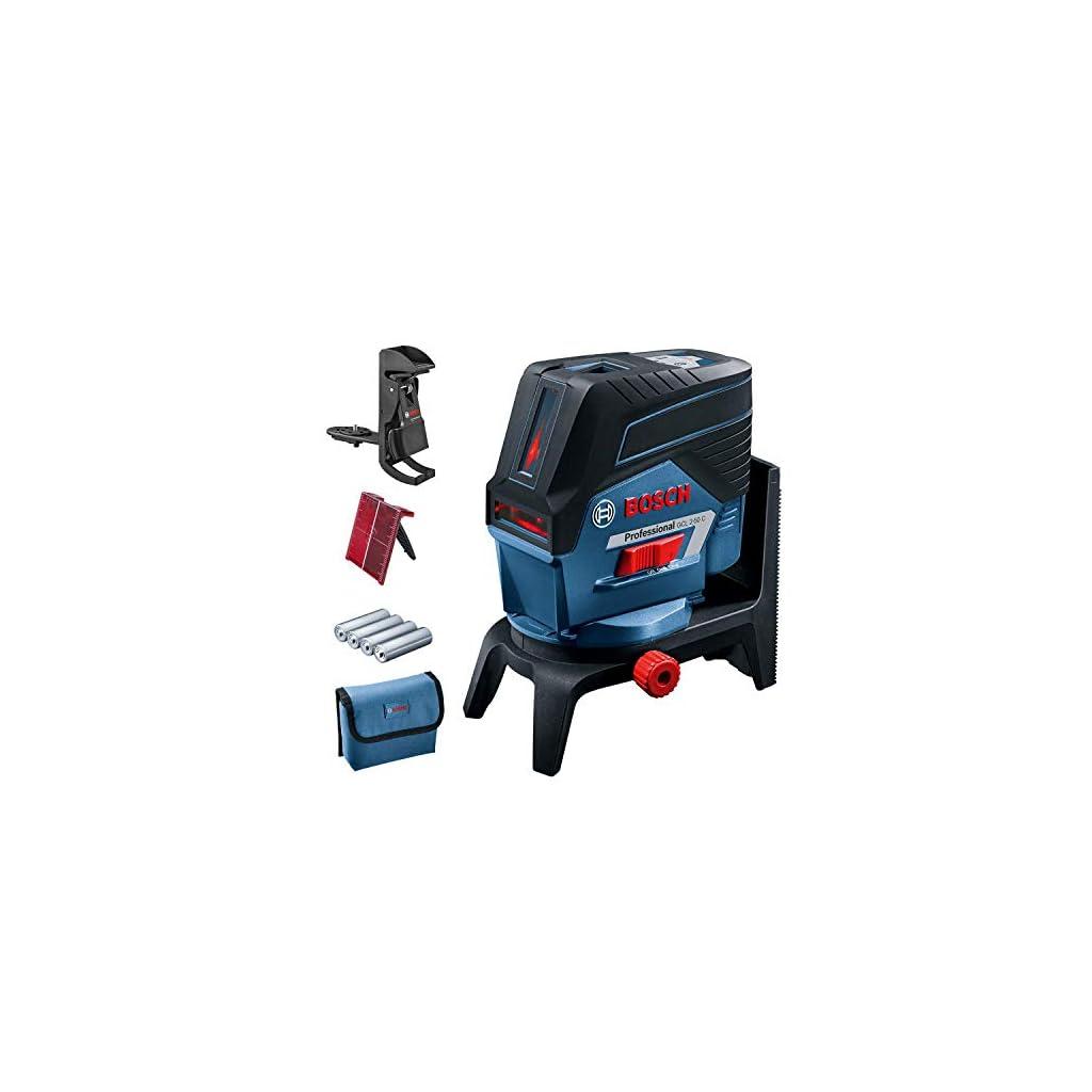 Bosch Professional Niveau Laser GCL2-50C (laser rouge, pour l'intérieur, avec fonction application, support, portée visible: jusqu'à 20m, 4xpiles AA, dans une boîte en carton)