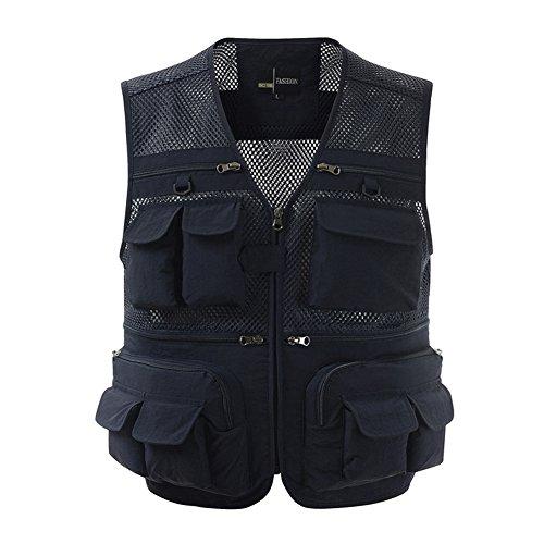 Ziker Men's Mesh Breathable Openwork Camouflage Journalist Photographer Fishing Vest Waistcoat Jacket Coat (Navy, Large)