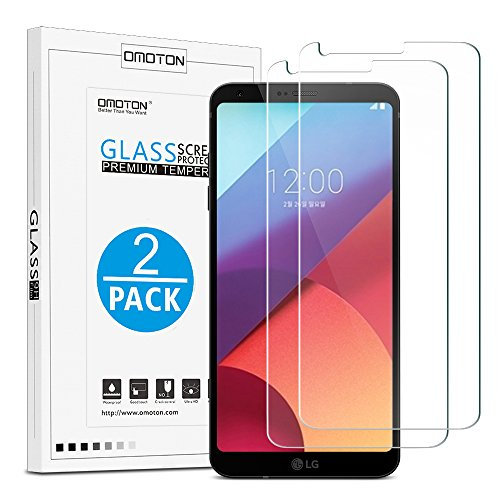 OMOTON [2 Stück] Panzerglas Bildschirmschutzfolie für LG G6/LG G6 Plus, Ultra Transparenz LG G6 Schutzfolie, 9H Festigkeit, Anti-Kratzen, Anti-Öl, Anti-Bläschen