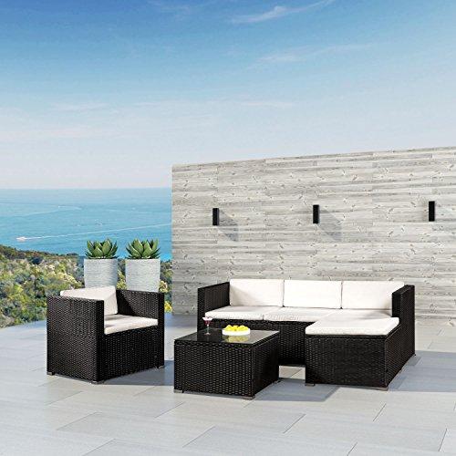 ArtLife Polyrattan Lounge Punta Cana L schwarz mit Bezügen in Creme | Gartenlounge mit Sofa, Sessel & Tisch für 4 – 5 Personen | Sitzgruppe - 2