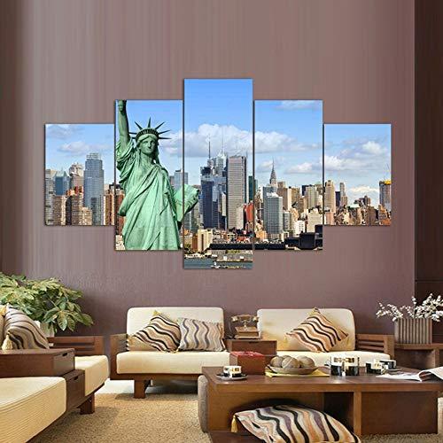 HQATPR DIY diamant schilderij 3D volledige set originele olieinkt canvasdruk vrijheidsbeeld schilderij op canvas muurkunst afbeelding huis decor WITH Frame 40 x 60 cm x 2,40 x 80 cm x 2,40 x 100 cm x 1