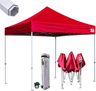 Eurmax Premium 10'x10' Ez Pop-up Canopy Tent Commercial Instant Canopies Shelter with Heavy Duty Wheeled Carry Bag (Red)